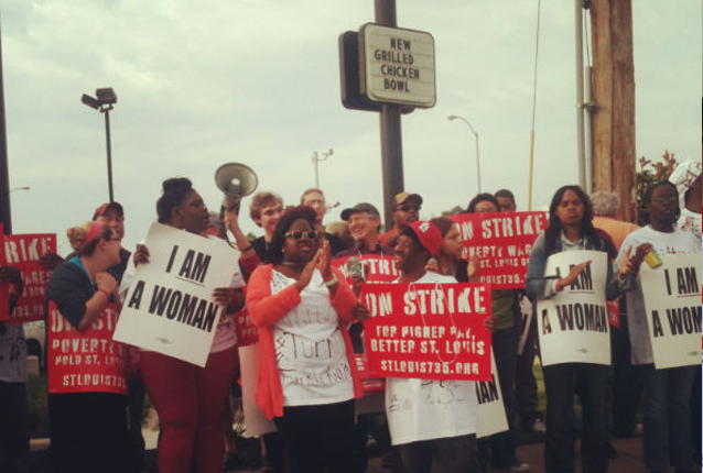 Fast food workers on strike