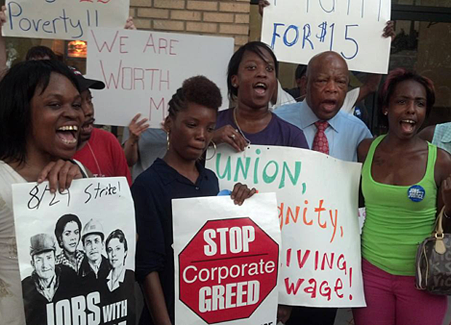 Fast food strikers in Atlanta were spontaneously joined by Representative John Lewis