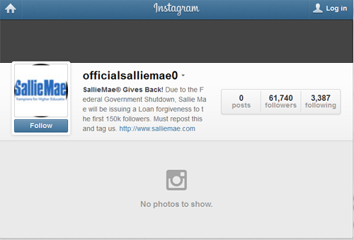 Screenshot of scam Sallie Mae Instagram account