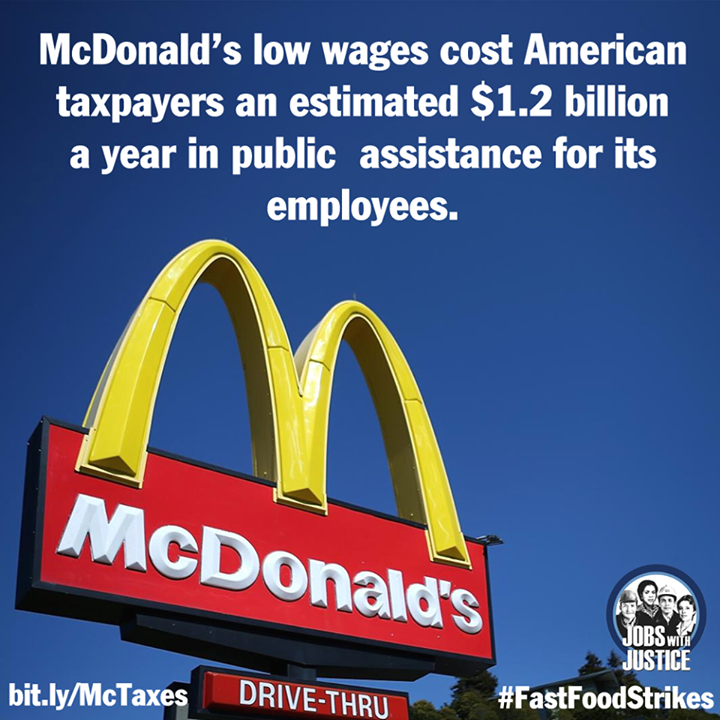 McDonald's pays such low wages that taxpayers end up footing the bill.  Get the facts: http://bit.ly/McTaxes