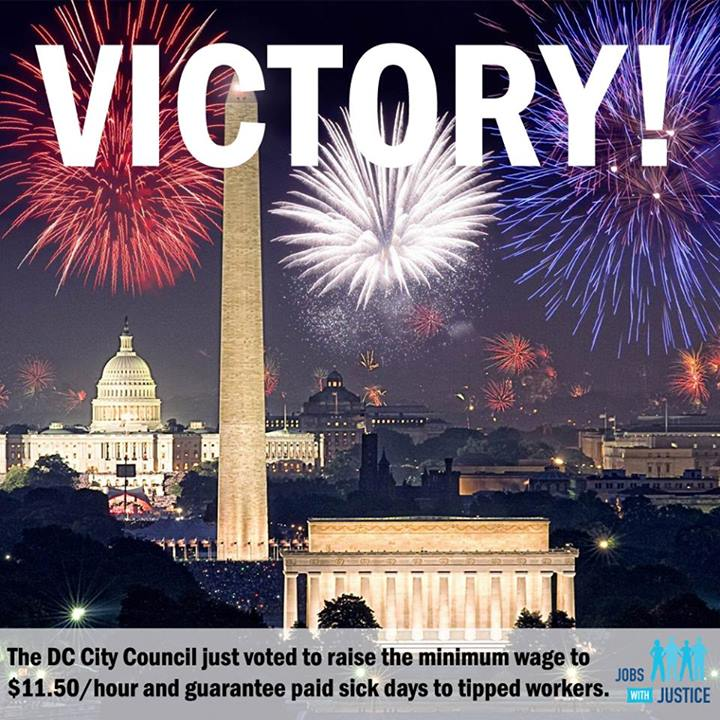 The D.C. City Council voted to increase the minimum wage to $11.50/hour and guarantee paid sick days to tipped workers! Share this on Facebook!