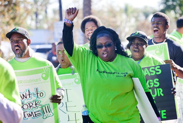 Walmart employees picket outside of the Walmart store in Pico Rivera, California. Photo via Flickr.