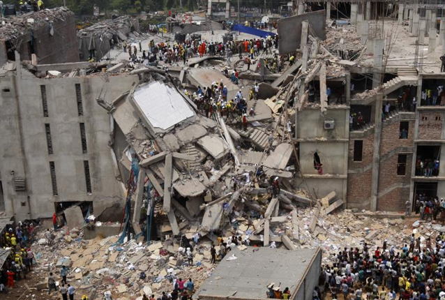 The Rana Plaza garment factory collapsed on April 24, 2013 in the worst garment catastrophe in history. Photo via Wikimedia