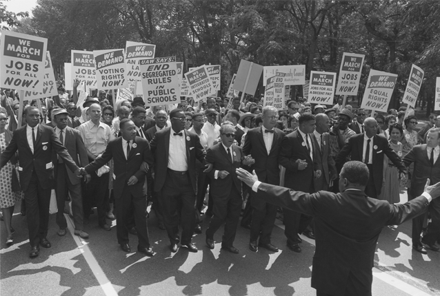 The civil rights movement argued that all workers should be able to organize as a civil right, demanding access to jobs and fair employment practices. Photo via http://officialmlkdream50.com