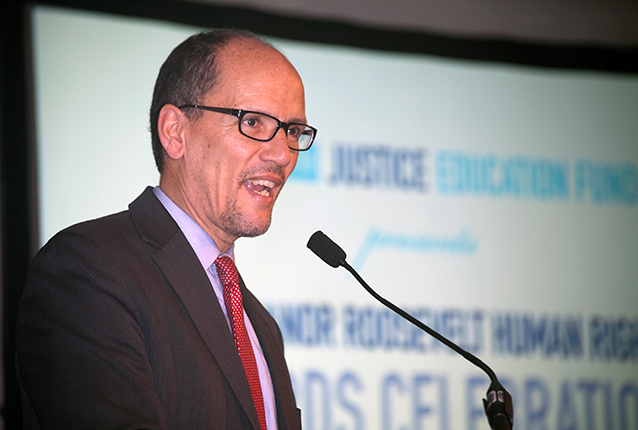 Secretary of Labor Tom Perez congratulated this year's recipients of the Eleanor Roosevelt Human Rights Awards.