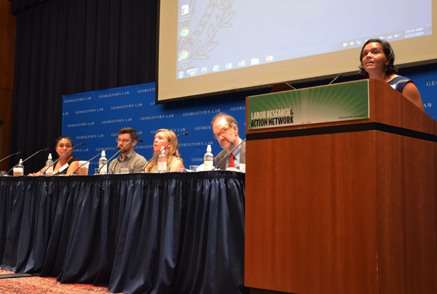 Plenary speakers (L-R) Veronica Mendez, Jack Mahoney, Christina Montorio, Dr. David Weil and moderator Sarita Gupta.