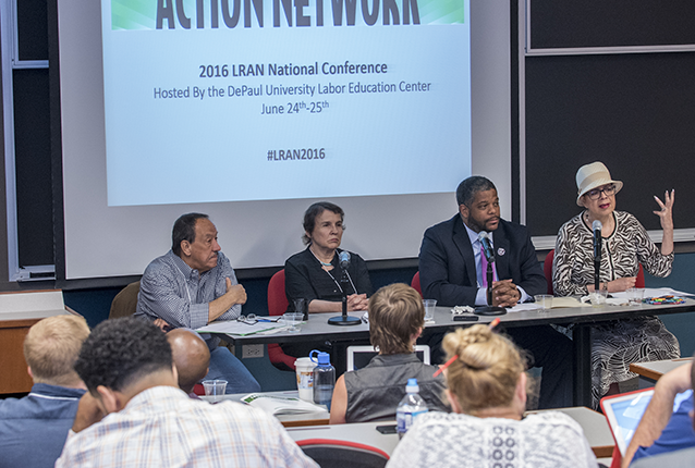Pictured L-R: Jack Metzgar, Roosevelt University; Roberta Lynch, AFSCME Counil 31; Kenneth Franklin, ATU Local 308; Karen Lewis, CTU. Credit: Alfredo Peralta, Jr (APJ Photography)